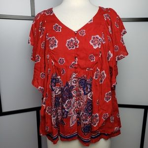 NWT Vintage America flowy red festival blouse